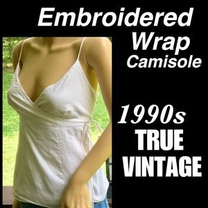 🆕VTG▪️GAP▪️Embroidered Cotton Wrap Camisole Top